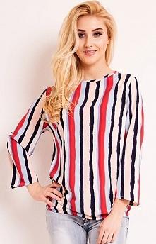 LOU LOU L043 bluzka paski Śliczna bluzka, wykonana z lekkiej i delikatnej tkaniny, efektowny wzór w kolorowe paski