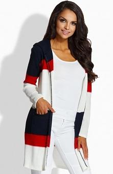 Lemoniade LS192 sweter granatowy Stylowy sweter, model niezapinany, luźny i swobodny fason, długi rękaw