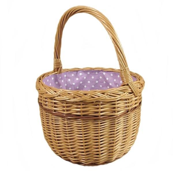 """Wiklinowy koszyk """"BOLERKO"""" wyściełany materiałem (białe kropki na fioletowym tle)"""