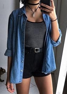 Stylizacja z czarnymi szortami i jeansową koszulą - LINK W KOM!