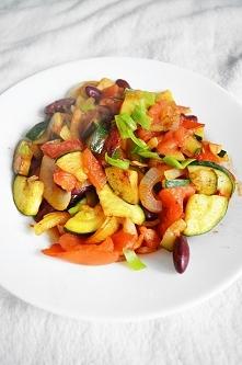 II- śniadanie 500 g =145 kcal, warzywa w curry. 50 g fasoli czerwonej 100 g cebuli 170 g cukinii 170 Pomidora curry, pieprz, sól himalajska Cebulka w piórka, cukinia w kosteczkę...