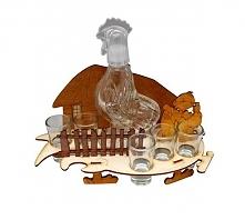 Karafka i 6 kieliszków w wesołym kurniku.
