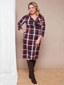 Modna sukienka plus size w kratę na thecovershop.pl