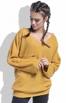 Fobya F439 sweter miodowy Komfortowy sweterek, fason typu oversive, wykonany ...