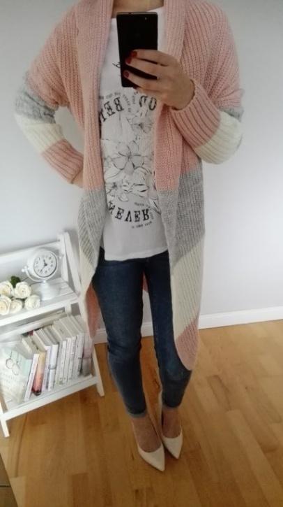 Cieply sweter w modne pasy:) Piękne kolorki