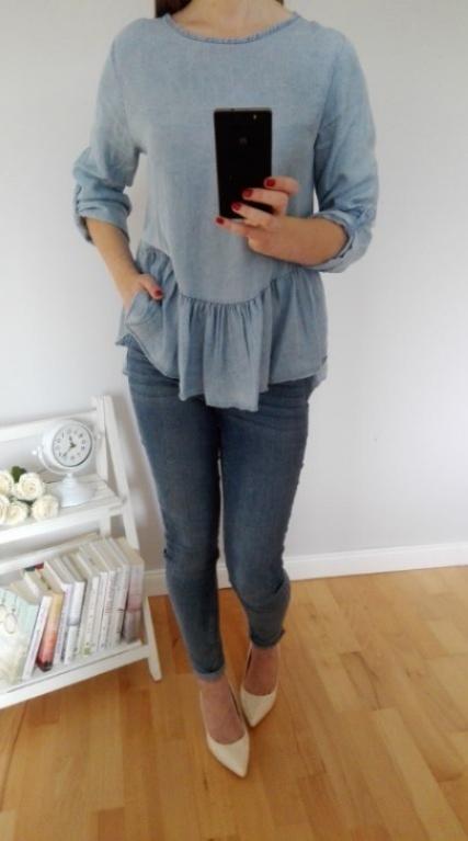 Przepiękna efektowna bluzka ala jeans