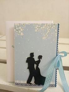 Ślubna niebieska z tańczącą parą :)