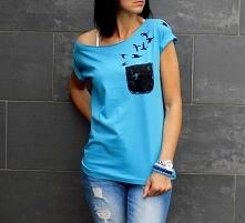 koszulka z kieszonką i ptakami AK-Creativo
