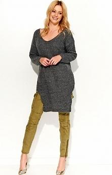 Makadamia S49 sweter grafitowy Rewelacyjny dłuższy sweter, świetnie będzie wyglądać w zestawieniu z legginsami, wykonany z miękkiej dzianiny