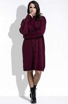 FIMFI I215 sweter bordowy Efektowny sweter, wykonany z przyjemnej dzianiny, s...