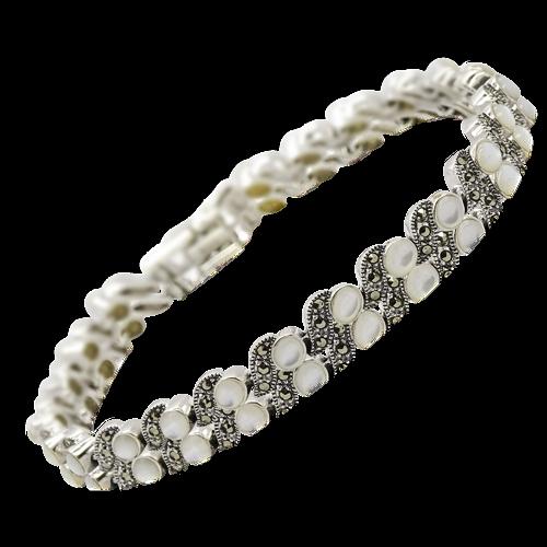 MILLA Srebrna bransoletka z markazytami i masą perłową