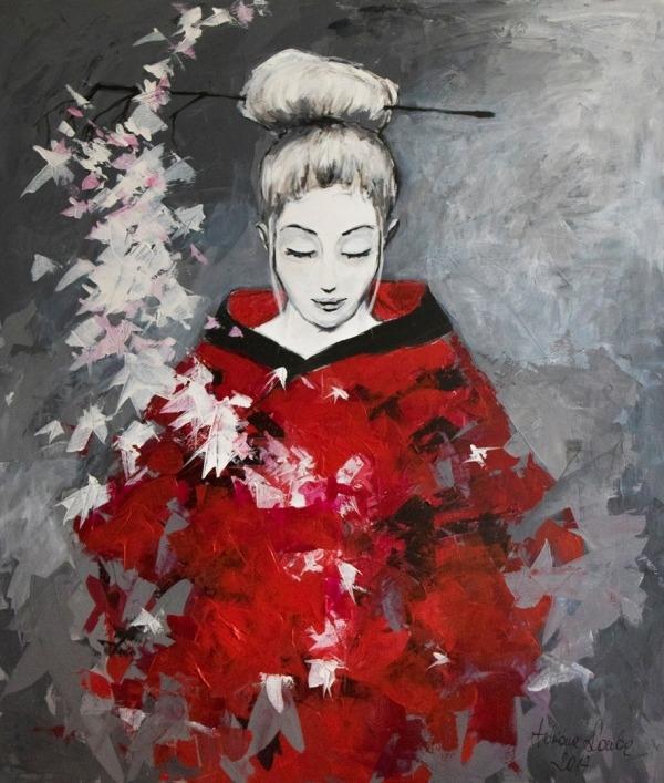 """""""GAŁĄZKA WIŚNI"""" obraz namalowany farbami akrylowymi przez artystkę plastyka Adrianę Laube na płótnie 130x110cm. Obraz naciągnięty na blejtram, ma zamalowane boki, sygnowany. Na sprzedaż."""