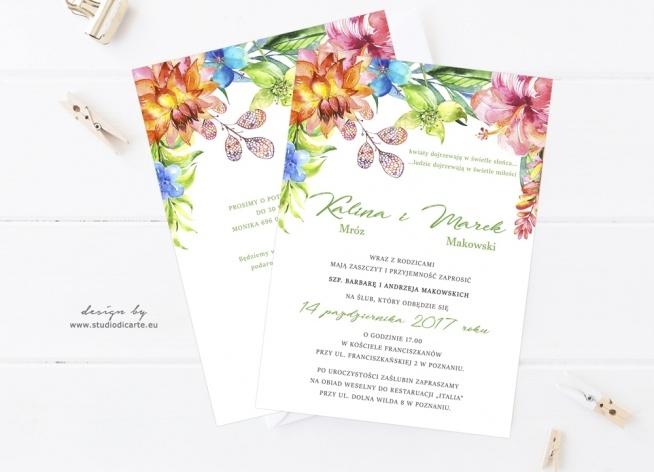Zaproszenia Na ślub Z Motywem Kwiatów Malowanych Akwarelami Na