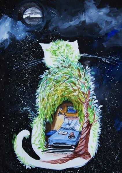 Kot Sypialniany Obraz Namalowany Farbami Akrylowymi Na Obrazy