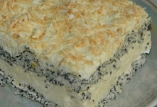 Ciasto makowe z masą kokosową      białka 8 sztuk     sól 1 szczypta     cukier 3/4 szklanki     margaryna 10 dkg     mąka 1 szklanka     mak 3/4 szklanki     proszek do pieczen...