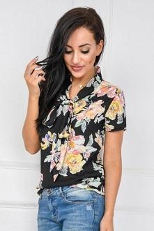 Koszula w kwiaty z krótkim rękawem i wiązaniem