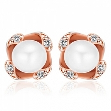 STAR Srebrne kolczyki, naturalne perły, różowe złoto