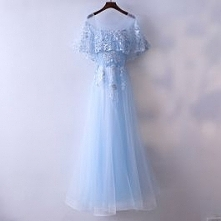 Chic / Beautiful Pool Blue Evening Dresses 2017 A-Line / Princess Beading Pearl Lace Flower Scoop Neck Backless 1/2 Sleeves Ankle Length Evening Party