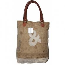 Pracownia kanthara.pl. Oryginalna shopperka vintage. Bawełna łączona z naturalną skórą. Tylko 2 sztuki!