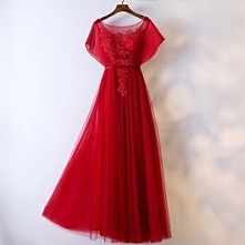 Chic / Beautiful Red Evening Dresses 2017 A-Line / Princess Lace Flower Sash ...