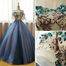 Piękne Szampan Ciemnoniebieski Sukienki Na Bal 2017 Suknia Balowa Przy Ramien...