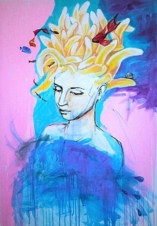 """""""TUŻ OBOK"""" obraz namalowany farbami akrylowymi na płótnie o wymiarach 100x70cm przez artystkę plastyka Adrianę Laube. Obraz naciągnięty na blejtram, ma zamalowane boki..."""