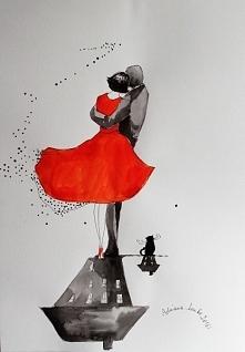 """""""PARA Z KOTEM"""" praca akwarelą i piórkiem wykonana przez artystkę plastyka Adrianę Laube na papierze A3. Praca sygnowana, wysyłana w kartonowej tubie. Cena: 130zł"""