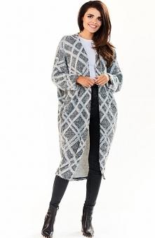 Awama A194 sweter romby Stylowy długi kardigan, wykonany z ciepłej, przyjemne...