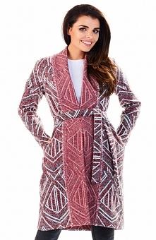 Awama A195 sweter bordowy Rewelacyjny sweter damski, wykonany z ciepłej wzorz...