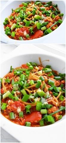 obiad - spaghetti z piersia...