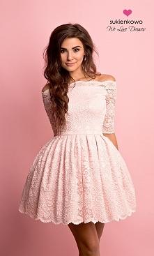 sukienkowo  CARMEN - sukienka bez ramion różowa Kliknij w zdjecie by przejsć ...