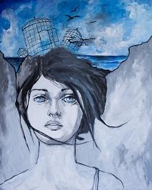 """""""UWOLNIENIE"""" obraz wykonany farbami akrylowymi na płótnie o wym. 100x80cm przez artystkę plastyka Adrianę Laube. Obraz naciągnięty na blejtram, ma zamalowane boki. Na ..."""