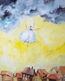 """""""IDZIE NA DESZCZ"""" obraz wykonany farbami akrylowymi na płótnie o wym. 100x80cm przez artystkę plastyka Adrianę Laube. Obraz naciągnięty na blejtram, ma zamalowane boki..."""