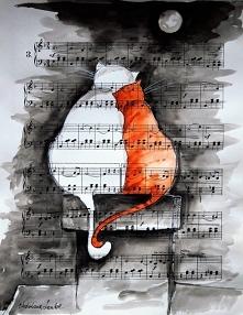 """""""NA KOMINIE"""" praca akwarelami z dodatkiem piórka wykonana na papierze z nutami o wym.33x26cm przez artystkę plastyka Adrianę Laube. Praca sygnowana, wysyłana w kartono..."""