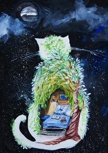 """""""KOT SYPIALNIANY"""" obraz namalowany farbami akrylowymi na płótnie 70x50cm przez artystkę plastyka Adrianę Laube. Obraz naciągnięty na blejtram, ma zamalowane boki, sygn..."""