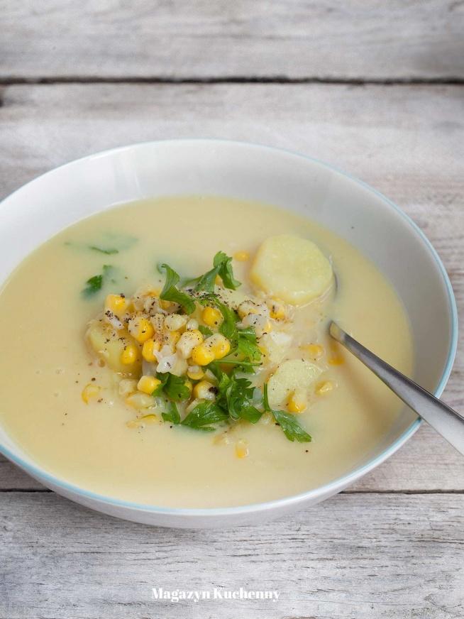 Szybka zupa ziemniaczana z kukurydzą. Przepis po kliknięciu w zdjęcie.