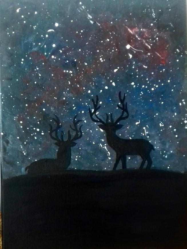 Jelenie   #jeleń #akryl #malamalarka #wrocław #ciemność #deer #kosmo #relaks #pasja #witch #