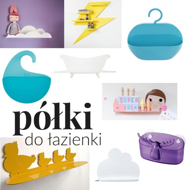 """""""Wesołe i kolorowe dodatki do łazienki"""" - wpis z inspiracjami i produktami na blogu Mocem - półki do łazienki, błyskawica, piorun, kaczuszki, fala, chmurka, domek, łoś"""