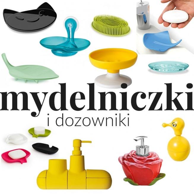 """""""Wesołe i kolorowe dodatki do łazienki"""" - wpis z inspiracjami i produktami na blogu Mocem - mydelniczki i dozowniki do mydła, kotek, listek, róża, płaszczka"""
