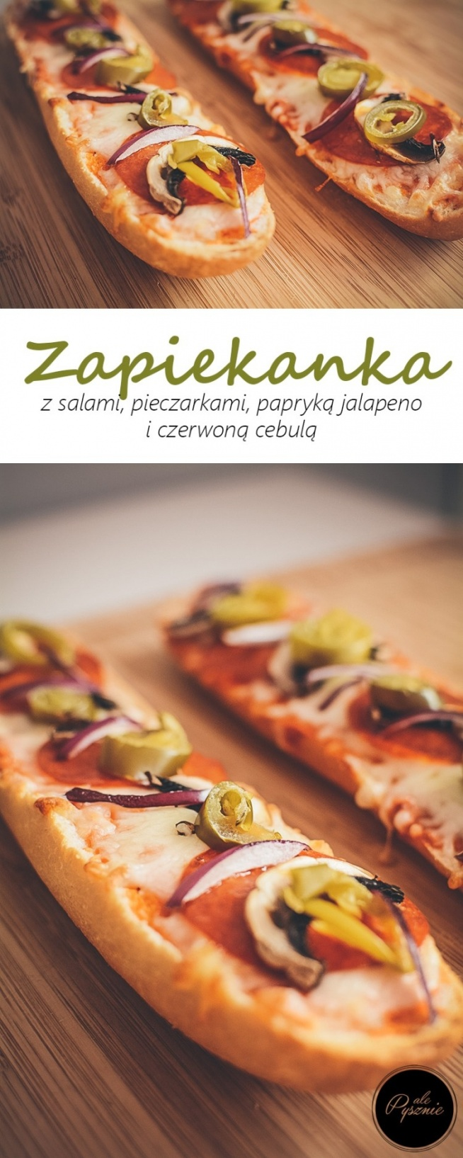 Zapiekanka z pieczarkami, salami i jalapeno. Kliknij w zdjęcie i zobacz przepis.