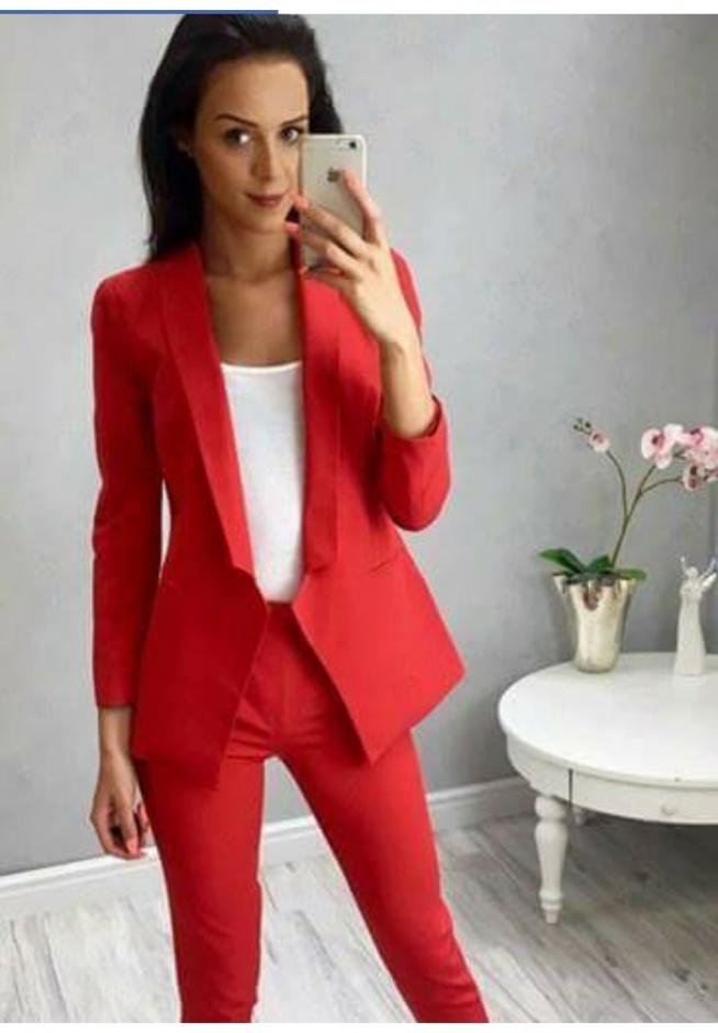 b68ba24c92 czerwony komplet marynarka+spodnie na Mój styl - Zszywka.pl