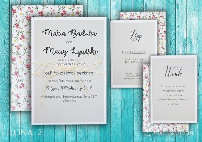 Zaproszenia ślubne W Angielskim Stylu W Formie Trzech Kart Na
