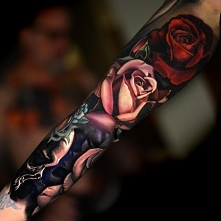 red and white rose tattoo