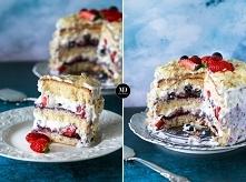 Tort śmietankowy z jagodami, borówkami i truskawkami
