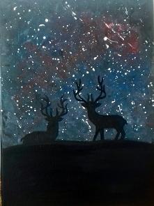 Jelenie   #jeleń #akryl #malamalarka #wrocław #ciemność #deer #kosmo #relaks ...