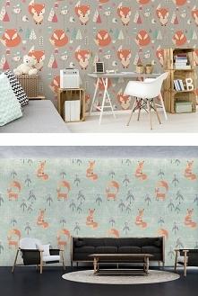 urocze liski - tapeta z takim motywem doda uroku skandynawskiej aranżacji pokoju dziecka (choć przyznajemy, że w salonie również prezentuje się wspaniale!)