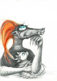 """""""SMOCZA MAMA"""" rysunek ołówkiem i kredkami artystki plastyka Adriany..."""