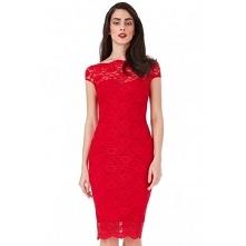 Czerwona koronkowa sukienka ołówkowa midi z krótkim rękawkiem ciekawy dekolt