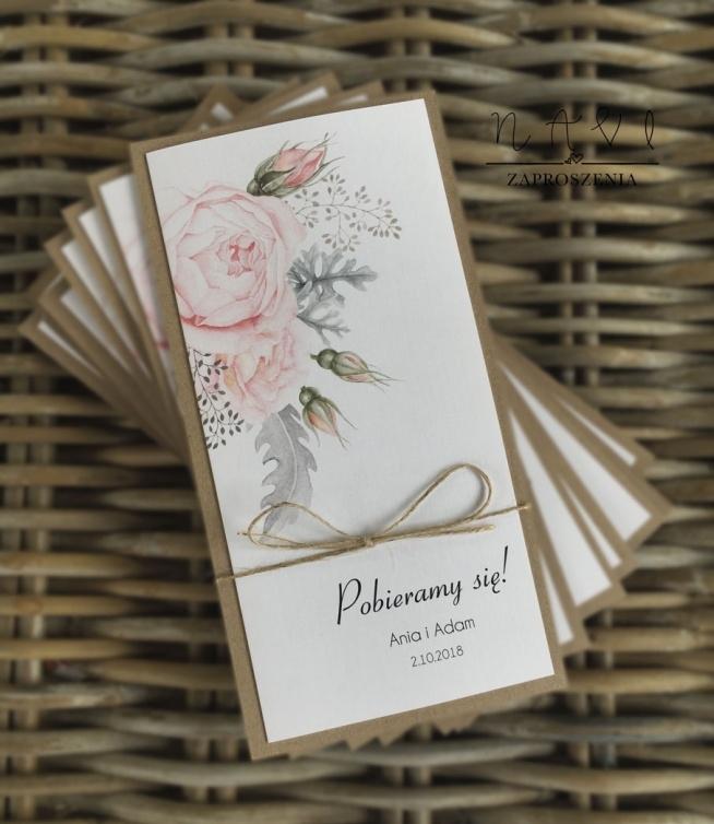 Pudrowy Róż I Eleganckie W Rustykalnym Stylu Zaproszenia ślubne Na
