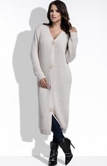FIMFI I206 sweter beżowy Komfortowy sweter, dłuższy fason, wykonany z przyjemnej niegryzącej dzianiny